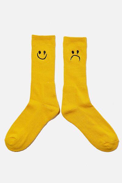 Retro Ribbed Socks, HAPPY SAD YELLOW