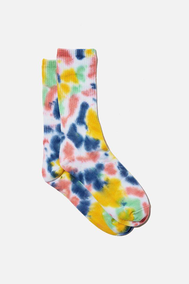 Retro Ribbed Socks, SOFT MULTI TIE DYE