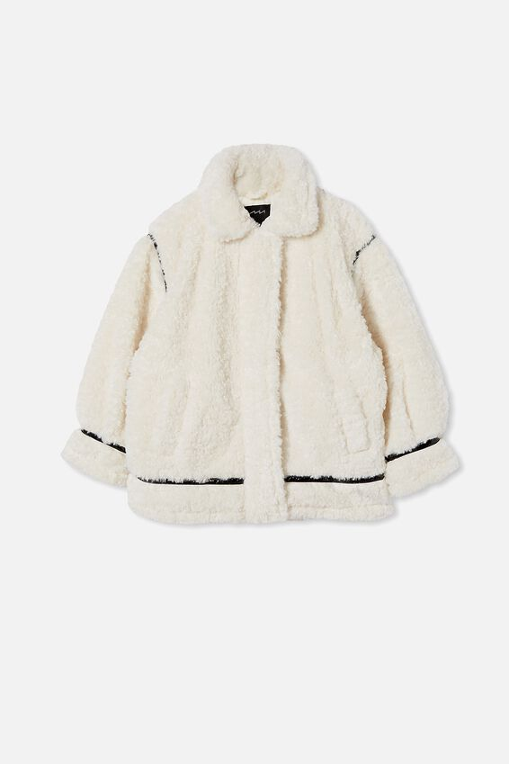 Oversized Fur Teddy Jacket, CREAM