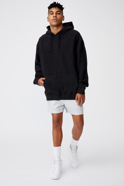Reverse Fleece Hoodie, WASHED BLACK
