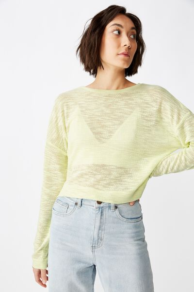 Long Sleeve Textured Top, LIME CREAM