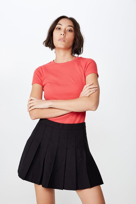 Short Sleeve Rib T Shirt, WASHED TOMATO