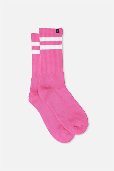 Retro Ribbed Socks, HOT PINK_WHITE STRIPE