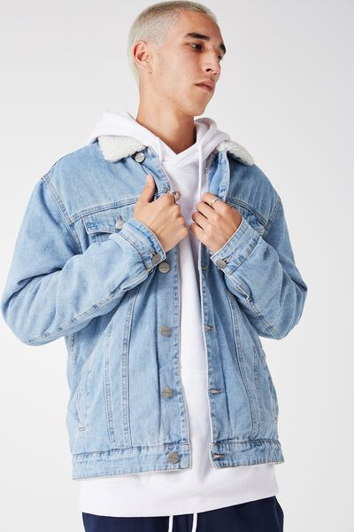 The Denim Sherpa Jacket, THRIFT BLUE
