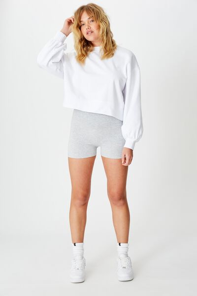 Cheeky High Waisted Bike Short, GREY MARLE