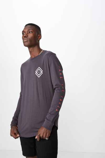 Curved Long Sleeve Graphic T Shirt, OBSIDIAN/SHADOWS