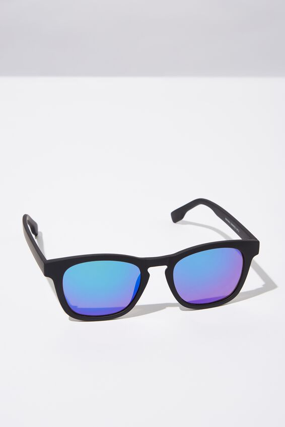 Waymax Sunglasses, BLK RUB_BLUE REVO