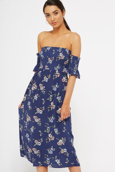 Flutter Slv Ots Shirred Midi Dress, SUBTLE_TROPICAL_NAVY