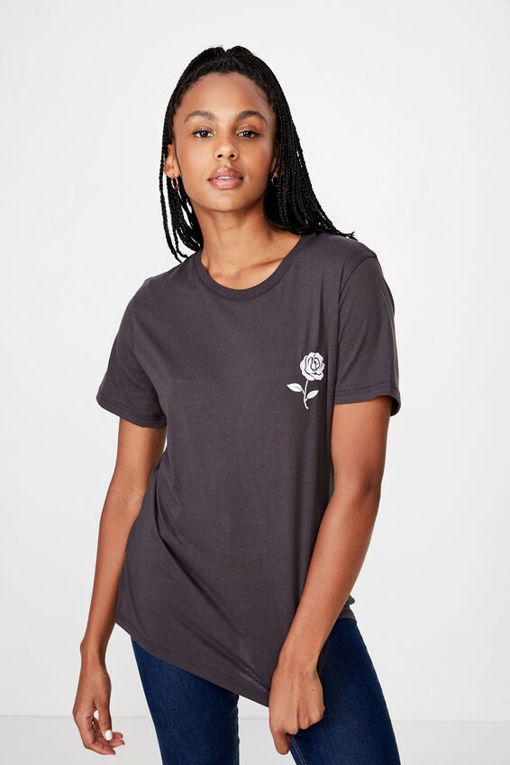 Relaxed Graphic T Shirt, ASPHALT/ROSE EMB