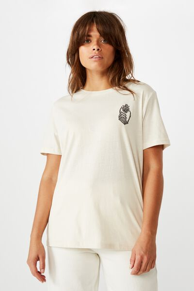 Relaxed Graphic T Shirt, WASHED IVORY/SKELETON HAND HEART