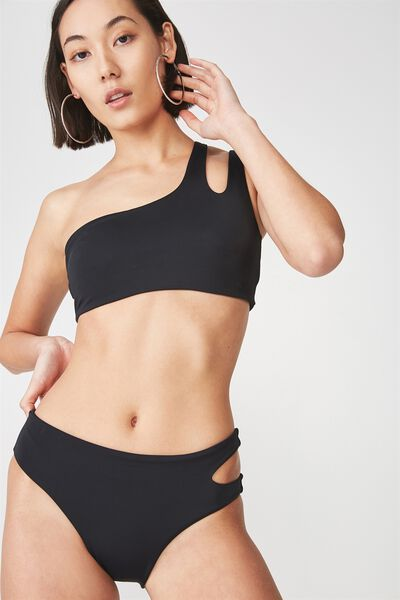 One Shoulder Cut Out Bikini Top, BLACK