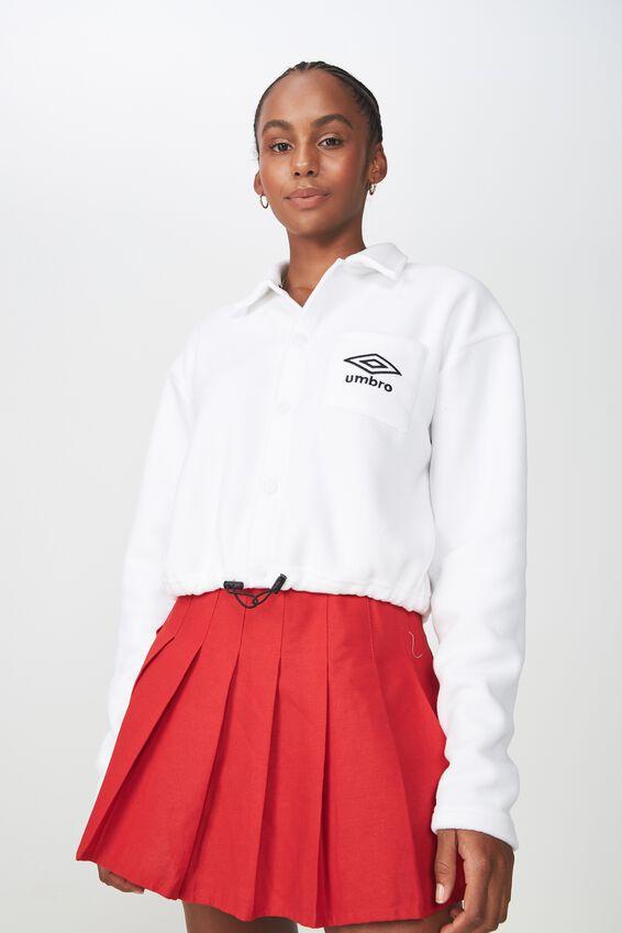 Umbro Lcn Cropped Polar Fleece Jacket, WHITE