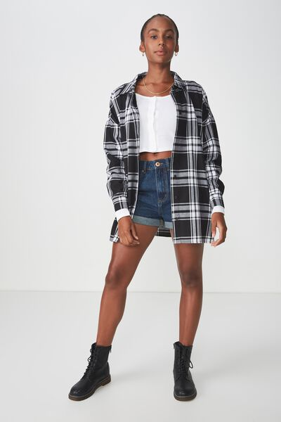 Oversized Check Shirt, BLACK CHECK
