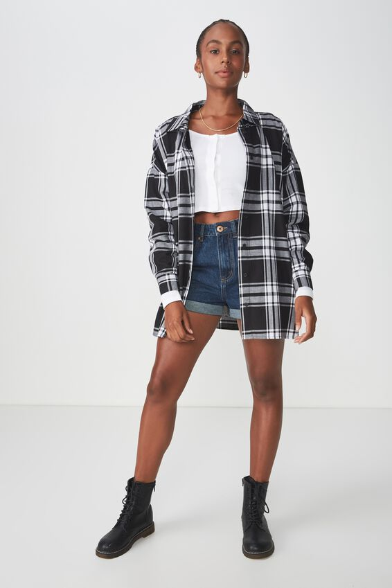 Oversized Check Shirt, BLACK CHECK