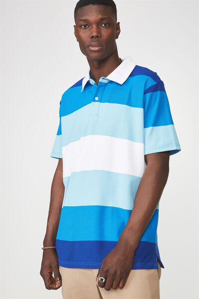 Ss Polo Top, FRENCH BLUE/EVENING STRIPE