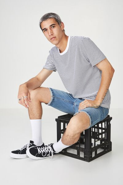 Slim Stripe T Shirt, WHITE/BLACK STRIPE