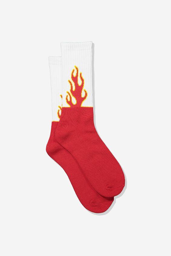 Retro Ribbed Socks, STRAIGHT FIRE SOCK_WHT
