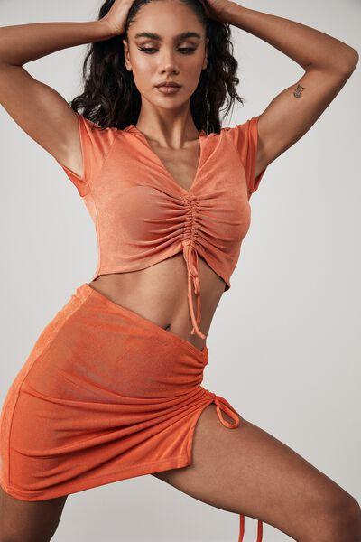 Slinky Ruched Side Split Skirt, ORANGE PERSIMMON