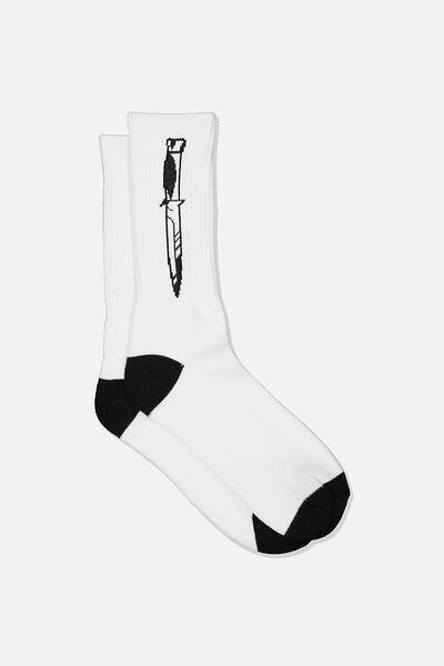 Retro Ribbed Socks, DAGGER WHITE/BLACK