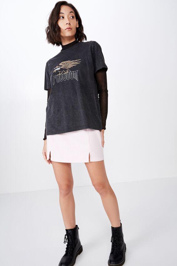 Double Split Mini Skirt, FAIRYTALE GINGHAM