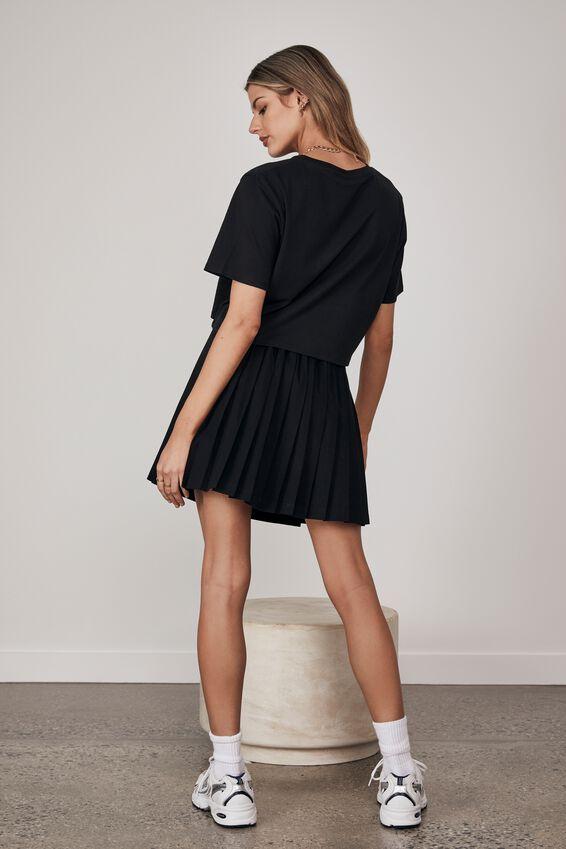 Short Sleeve Crop Graphic T Shirt, BLACK/PREP CREST