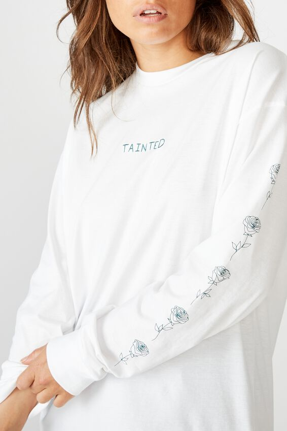 Oversized Ls Graphic Tee, WHITE/TAINTED ROSE
