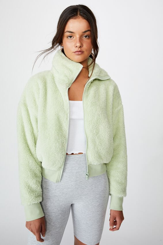 Plush Zip Thru Bomber, BOK CHOY