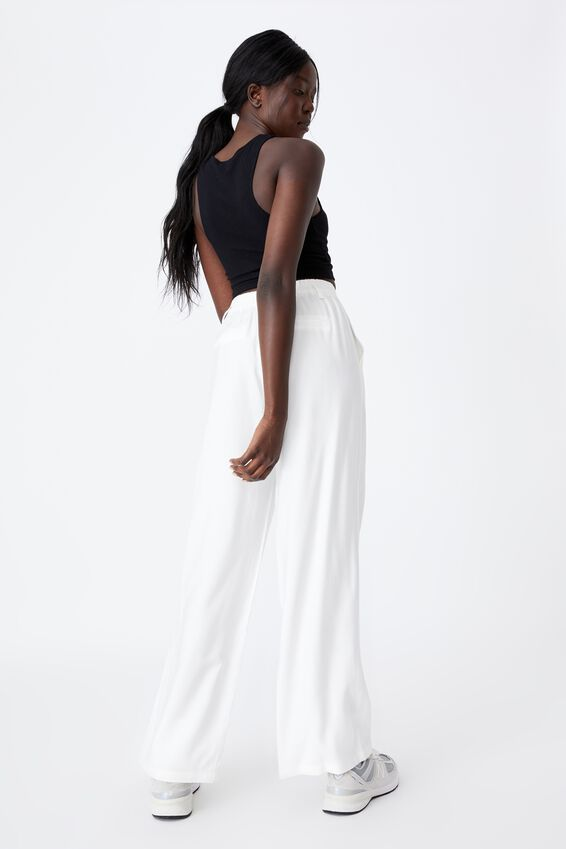 Woven Wide Leg Pant, IVORY