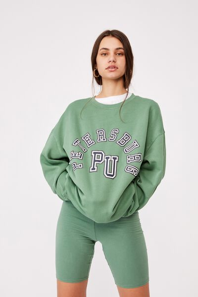 Oversized Graphic Crew, WASHED ECO GREEN/PETERSBERG