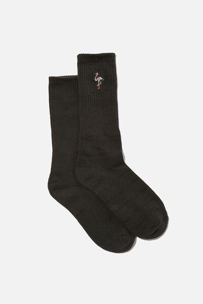 Retro Ribbed Socks, FLAMINGO
