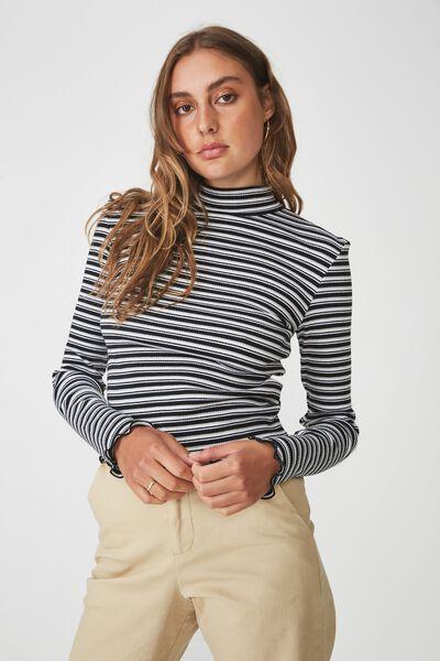Stripe Rib Lettuce Edge Long Sleeve, WILLA STRIPE_BLACK WHITE