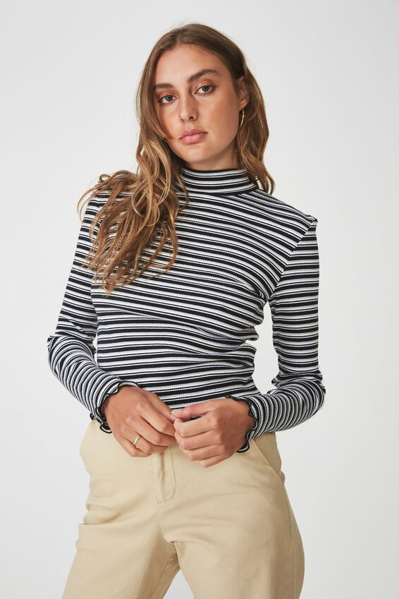 Stripe Rib Lettuce Edge Long Sleeve, WILLA STRIPE_BLACK WHITE