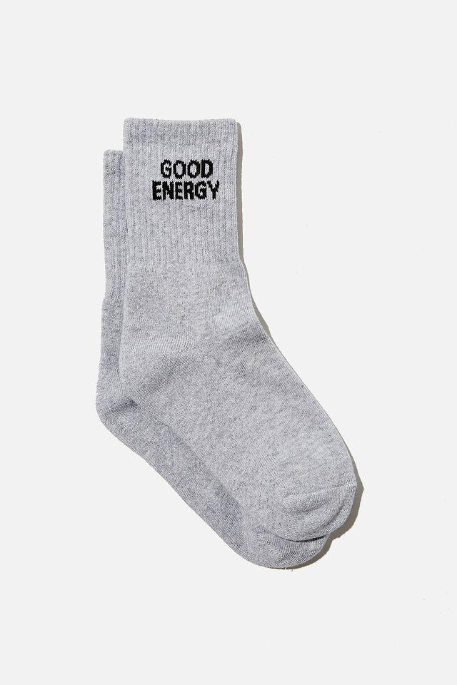 Retro Sport Sock, GREY MARLE/GOOD ENERGY