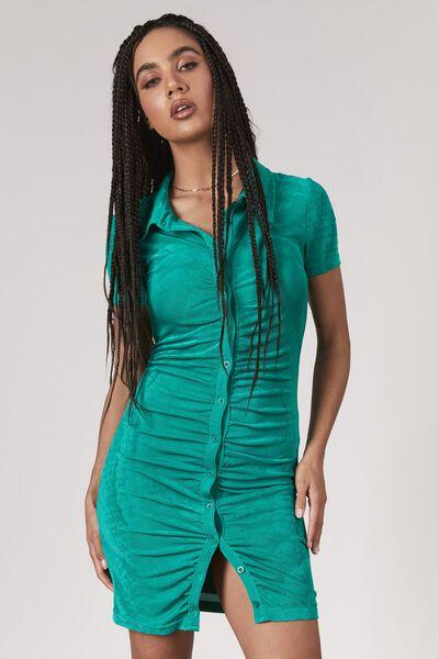 Slinky Button Through Dress, CLOVER GREEN
