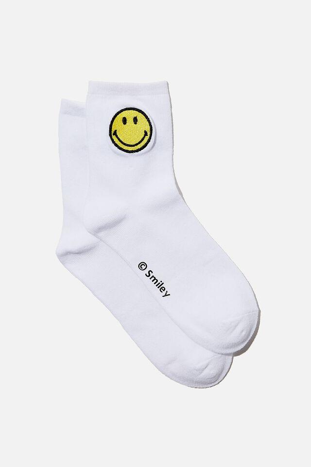 License Original Socks, LCN SMI WHITE SMILEY