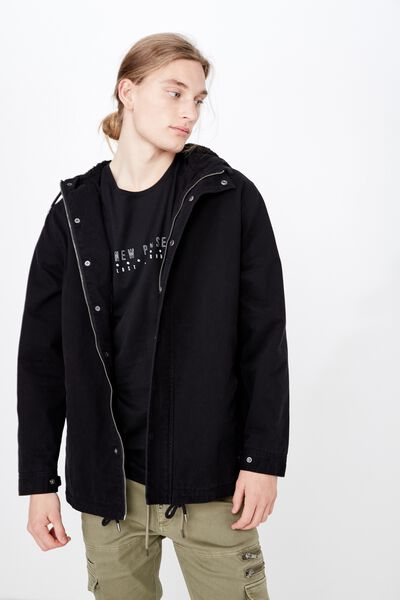 Hooded Anorak, BLACK