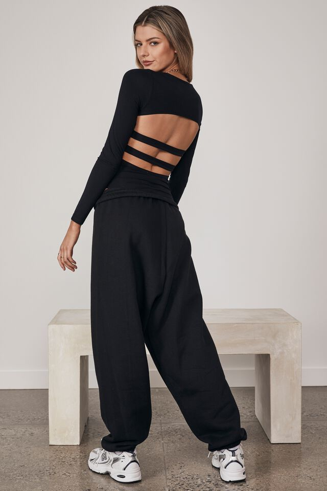Long Sleeve Open Back Bodysuit, BLACK