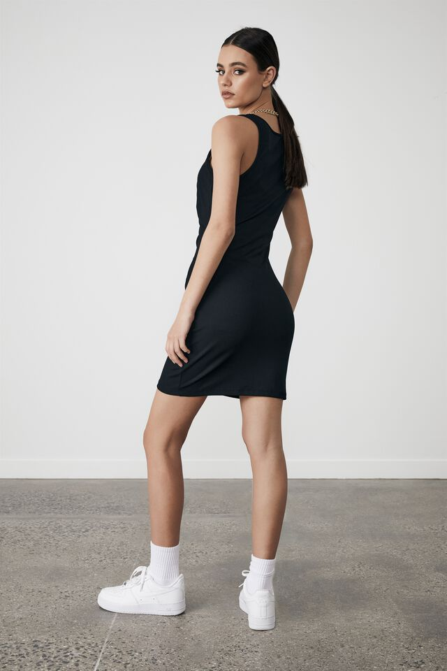 Ruched Cut Out Front Dress, BLACK