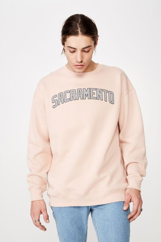 Oversized Graphic Crew, SANDY PEACH/SACRAMENTO