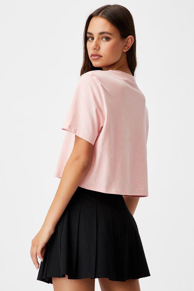 Short Sleeve Crop Graphic T Shirt, SILVER PINK/SPORTS DIVISON