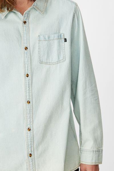 Long Sleeve Denim Shirt, BLEACH BLUE