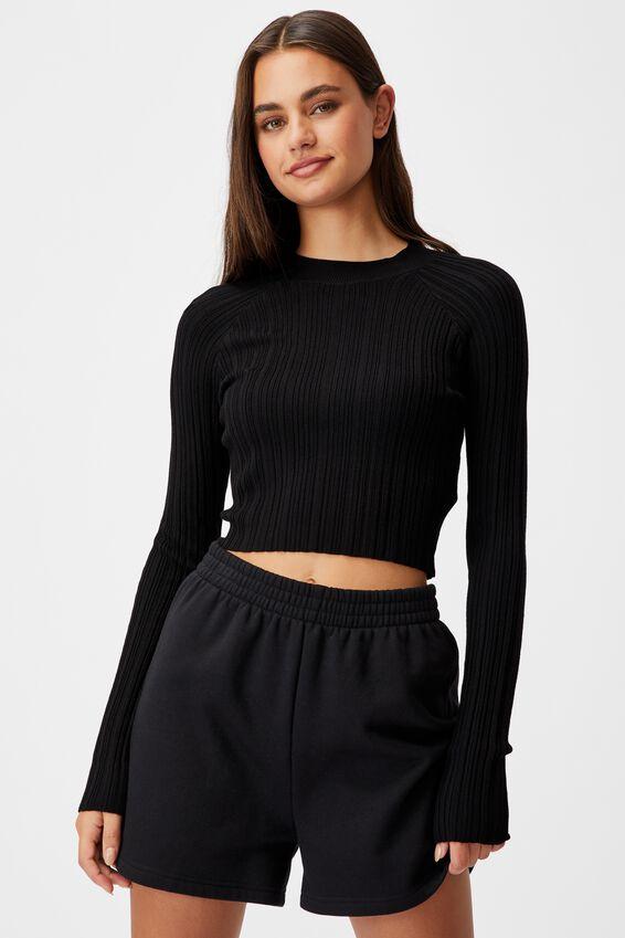 Variegated Rib Knit Long Sleeve Top, BLACK