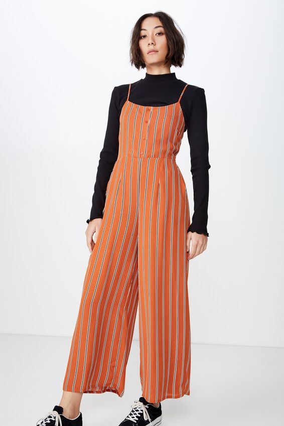 Woven Jumpsuit, SAVANNAH STRIPE RUST