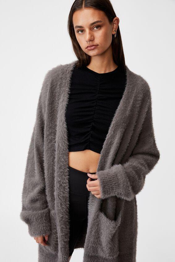 Fluffy Knit Longline Cardigan, PLUM KITTEN