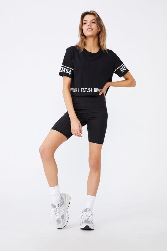 Short Sleeve Raw Edge Crop Graphic T Shirt, BLACK/HARLEM