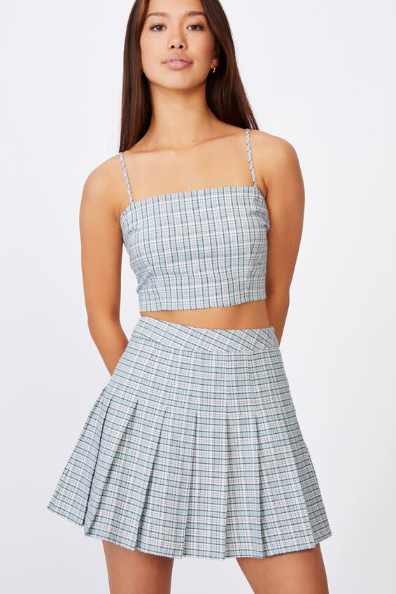 Pleated Skirt, MAYA CHECK ETHER