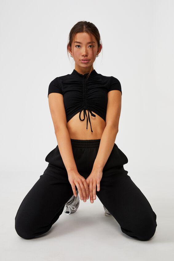 Short Sleeve Pull Front Funnel Neck Top, BLACK