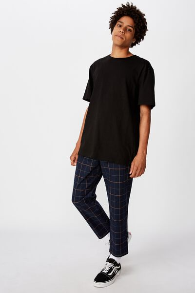 Relaxed Tapered Leg Pant, NAVY SHADOW PANE CHECK