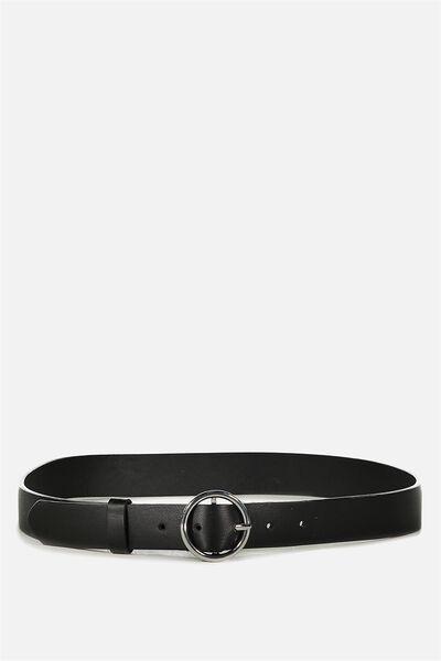 Waisted Belt, ROUND BKL- BLK_ANTQ SIL