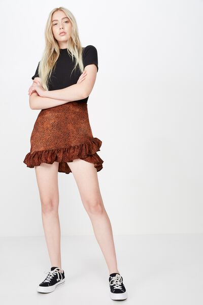 Satin Ruffle Skirt, GINGER SPOT ANIMAL